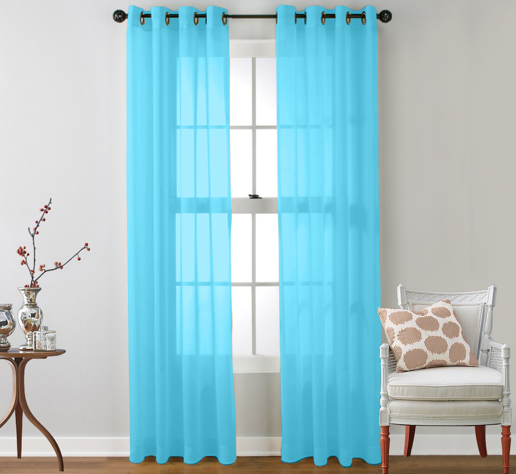 Turquoise sheer curtains - 2 Piece Sheer Window Curtain Grommet Panels