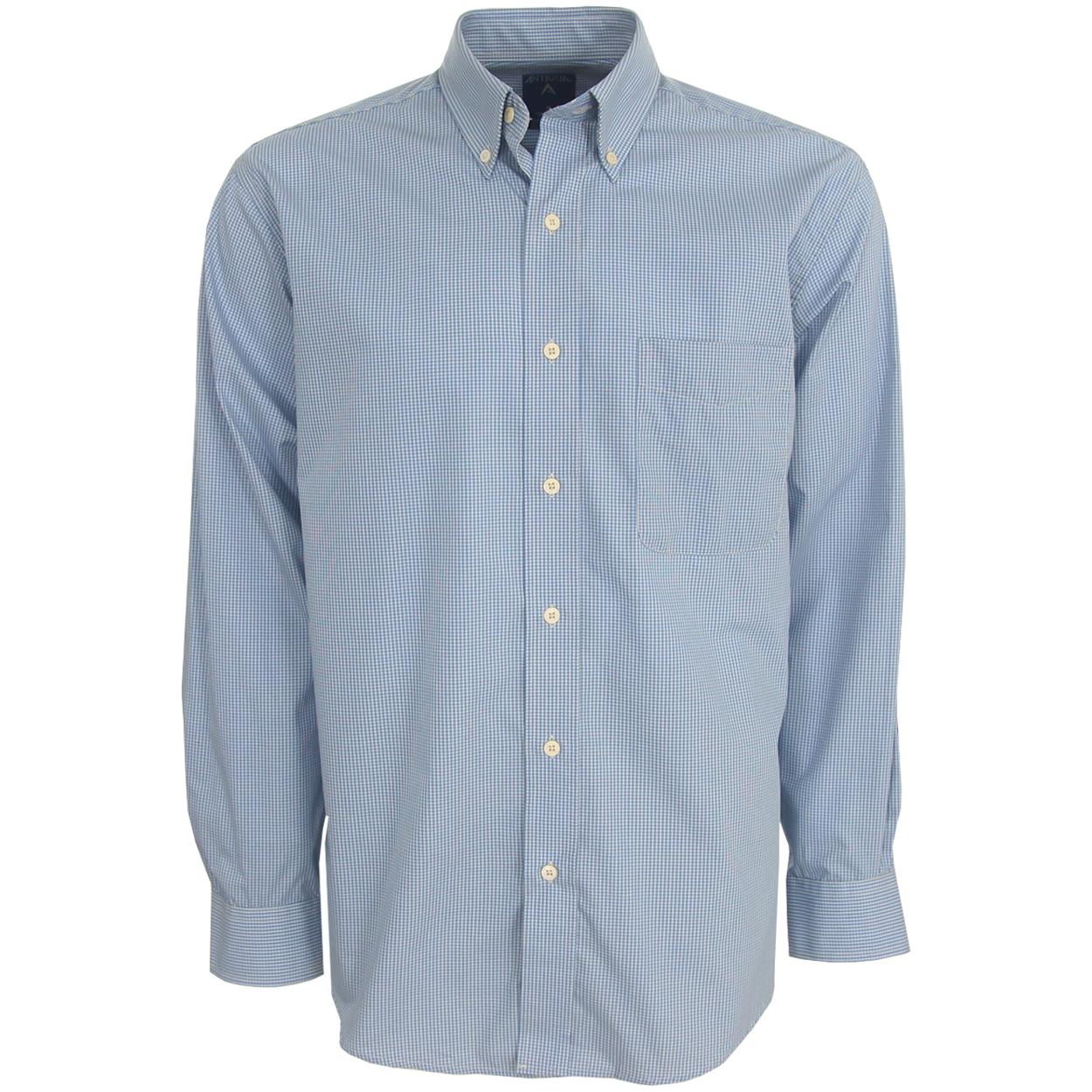Antigua Focus Mini Check Long-Sleeve Oxford Style Men's ...