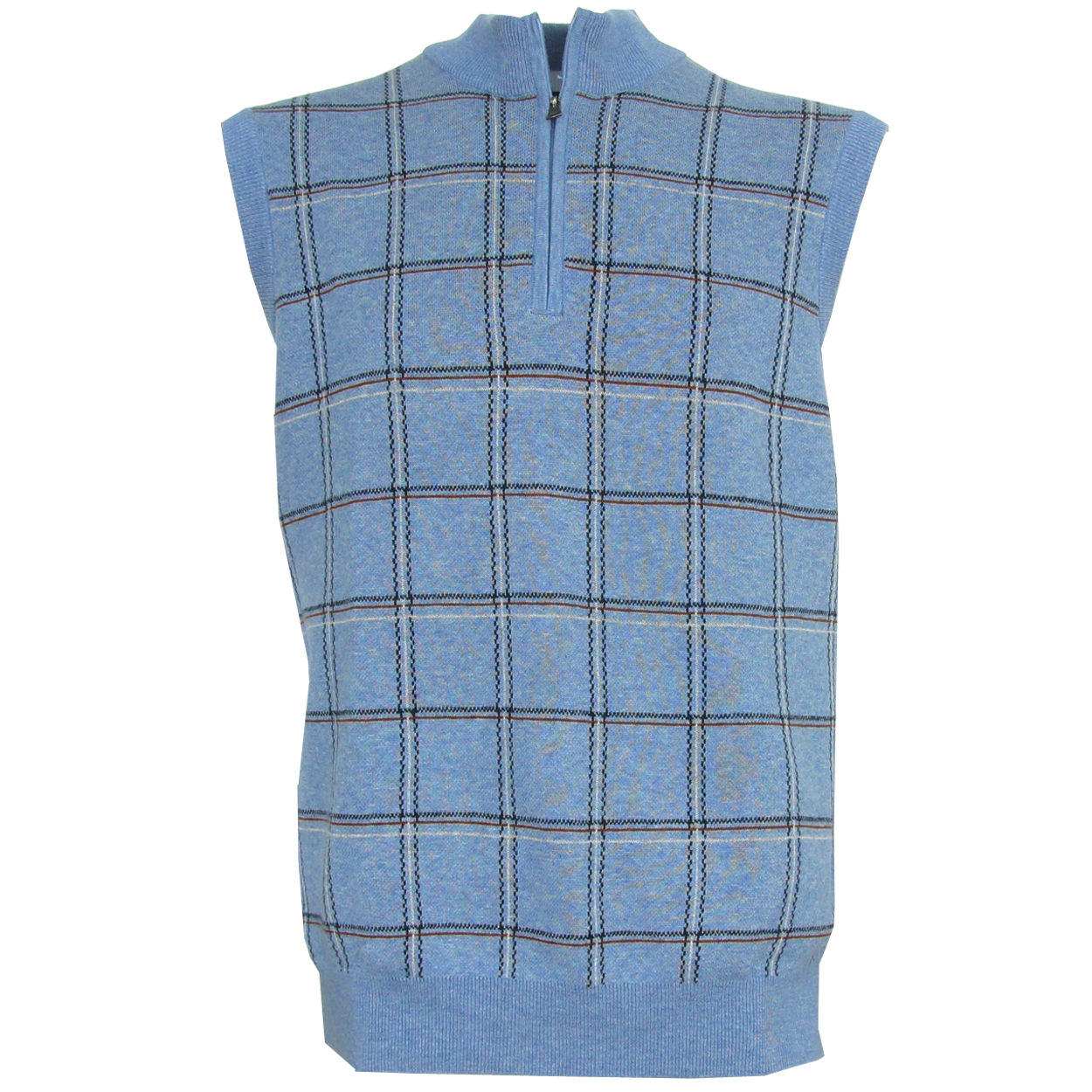 The Greg Norman Plaid 1/4-Zip Sweater Vest is the perfect accessory on cool days. Greg Norman achieved great success on tour and has carried that success off the golf course with his performance line of apparel. Soft comfortable garments that offer terrific freedom of movement~ versatility~ and styl