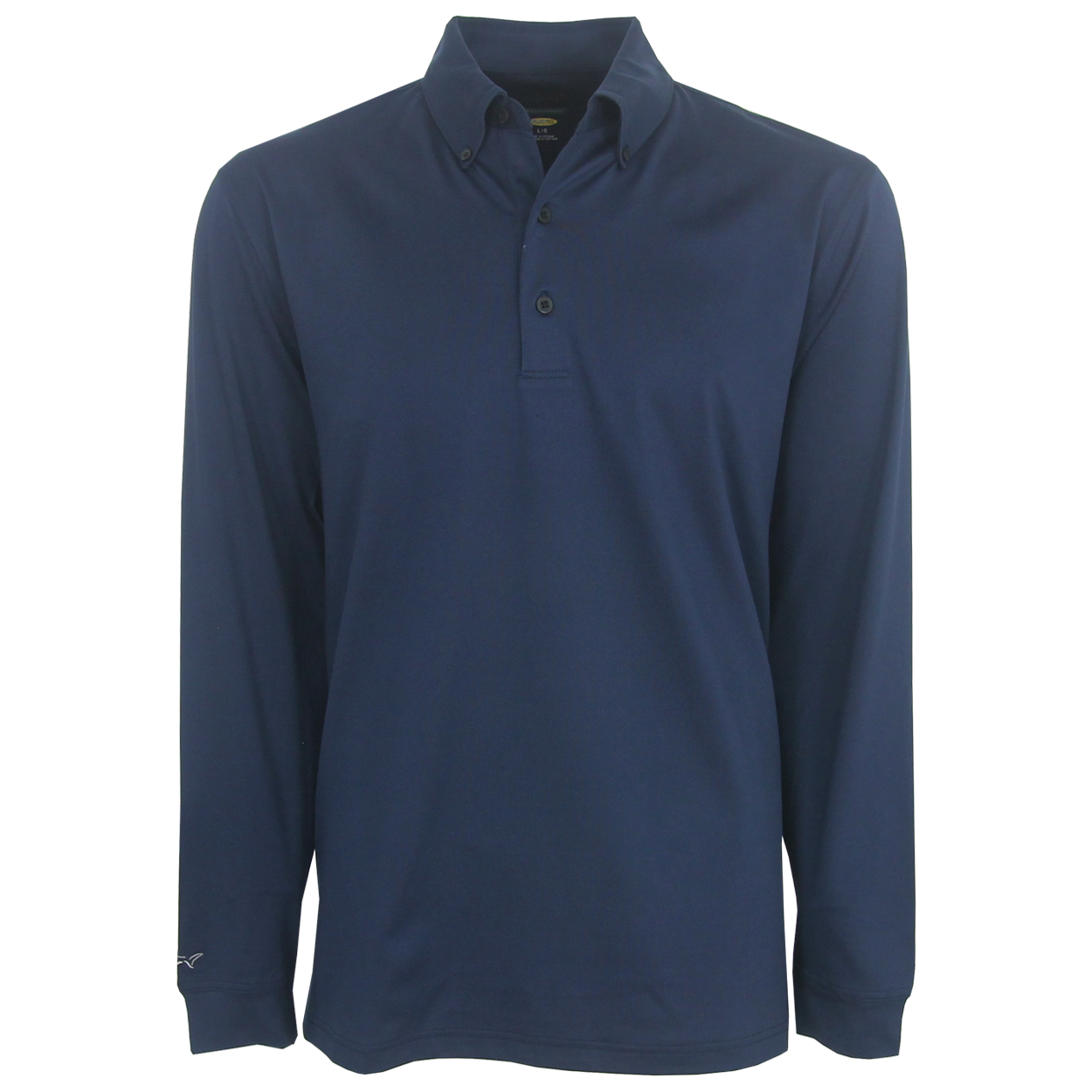 Greg Norman Weather Knit Long Sleeve Solid Polo Golf Shirt