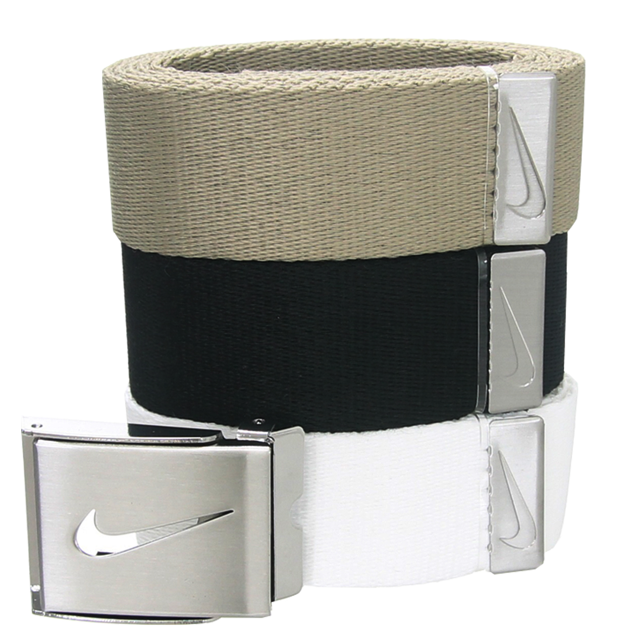 """Nike Golf's 3 in 1 Web Belts feature: Unique clamp buckle allows you to choose which color belt to use that day. Buckle features Nike """"Swoosh"""" logo cutout. Choose the color that best suits your current outfit Belt straps are made of a durable 100% synthetic fiber, and fit up to size 42"""". Why buy three separate belts when the 3 in 1 Web Pack will suffice?"""
