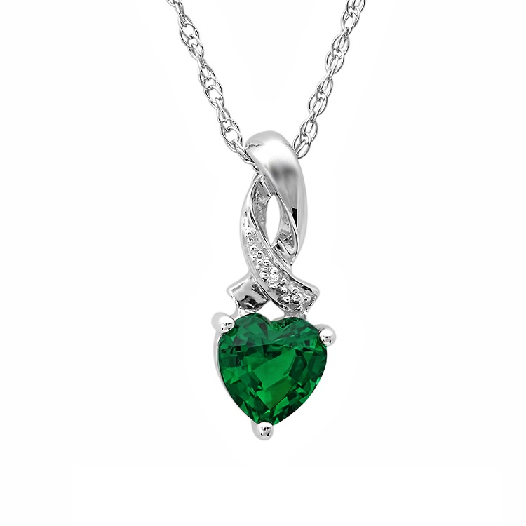 MLG Jewelry Heart Shape Created Emerald and Diamond Pendant-Necklace in Sterling Silver at Sears.com