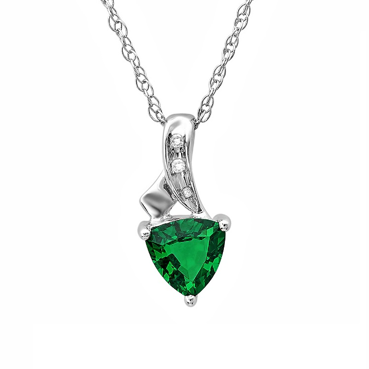 MLG Jewelry Trillion Created Emerald and Diamond Pendant-Necklace in Sterling Silver at Sears.com
