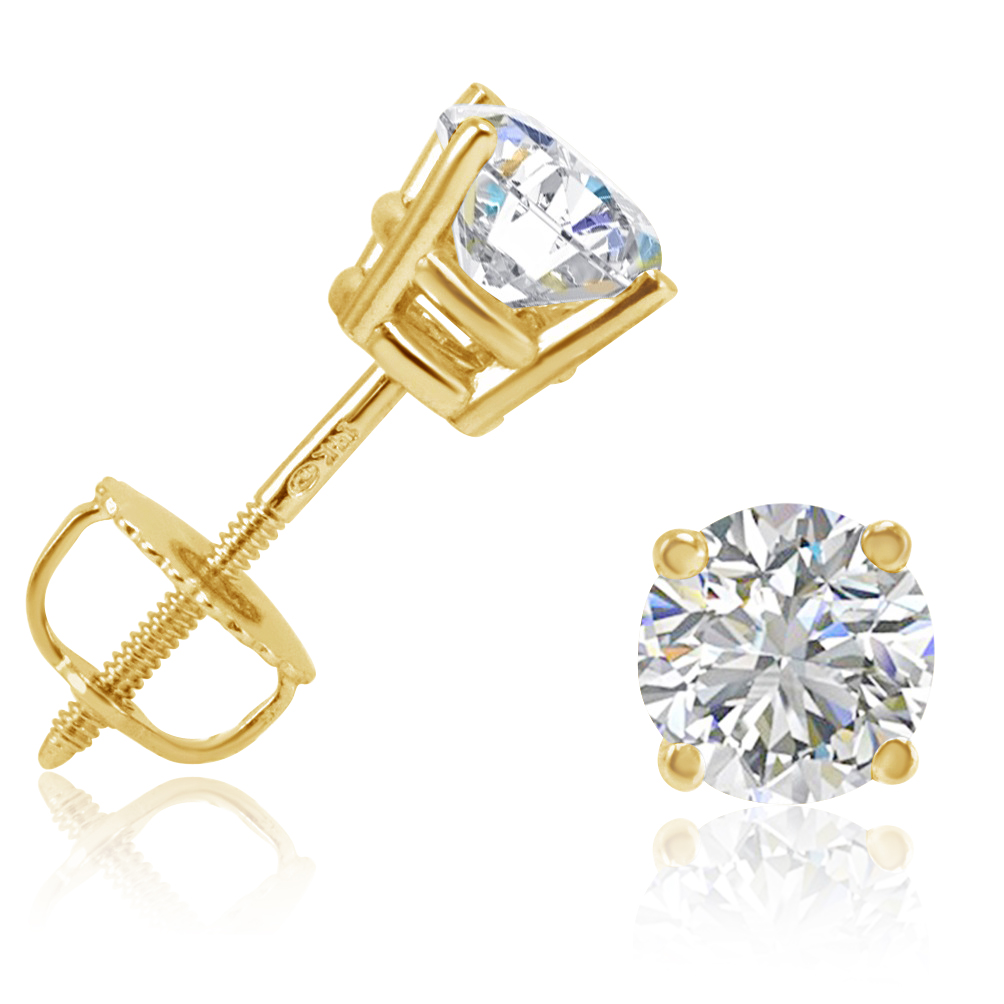 1ct round diamond stud earrings in 14k yellow gold with. Black Bedroom Furniture Sets. Home Design Ideas