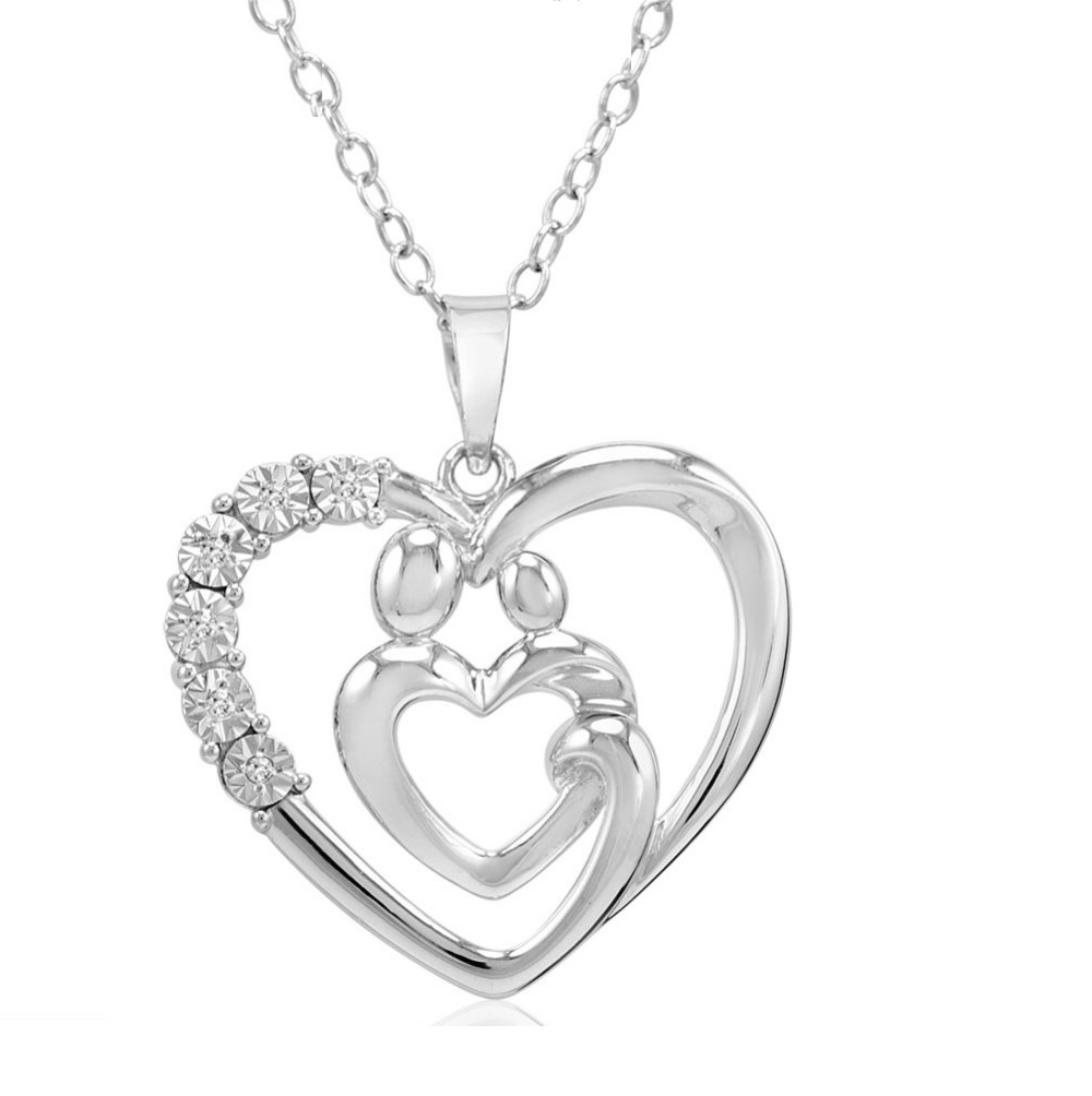 mother and child natural diamond heart pendant necklace in. Black Bedroom Furniture Sets. Home Design Ideas