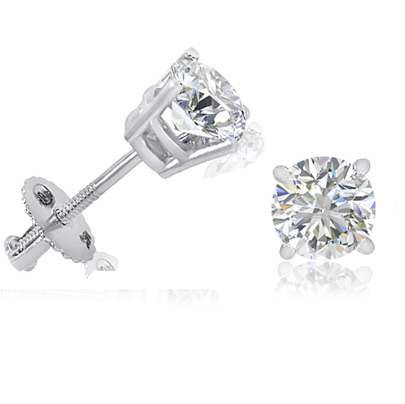 1 2ct tw round natural diamond stud earrings in 14k white. Black Bedroom Furniture Sets. Home Design Ideas