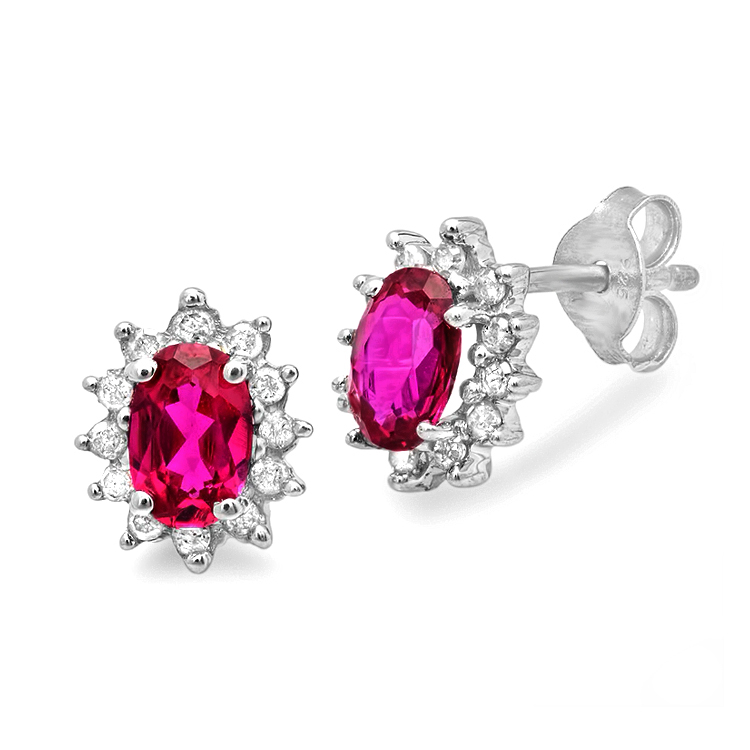 MLG Jewelry Created Ruby and Diamond Stud Earrings set in Sterling Silver (1 1/2ct tgw) at Sears.com