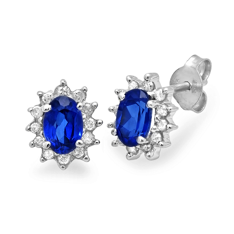 MLG Jewelry Created Sapphire and Diamond Stud Earrings set in Sterling Silver (1 1/2ct tgw) at Sears.com