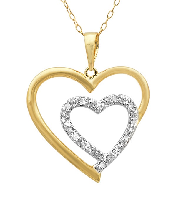 MLG Jewelry 18K Yellow Gold Plated Sterling Silver Diamond Heart-Pendant Necklace (1/10ct tw- 18in. Chain) at Sears.com