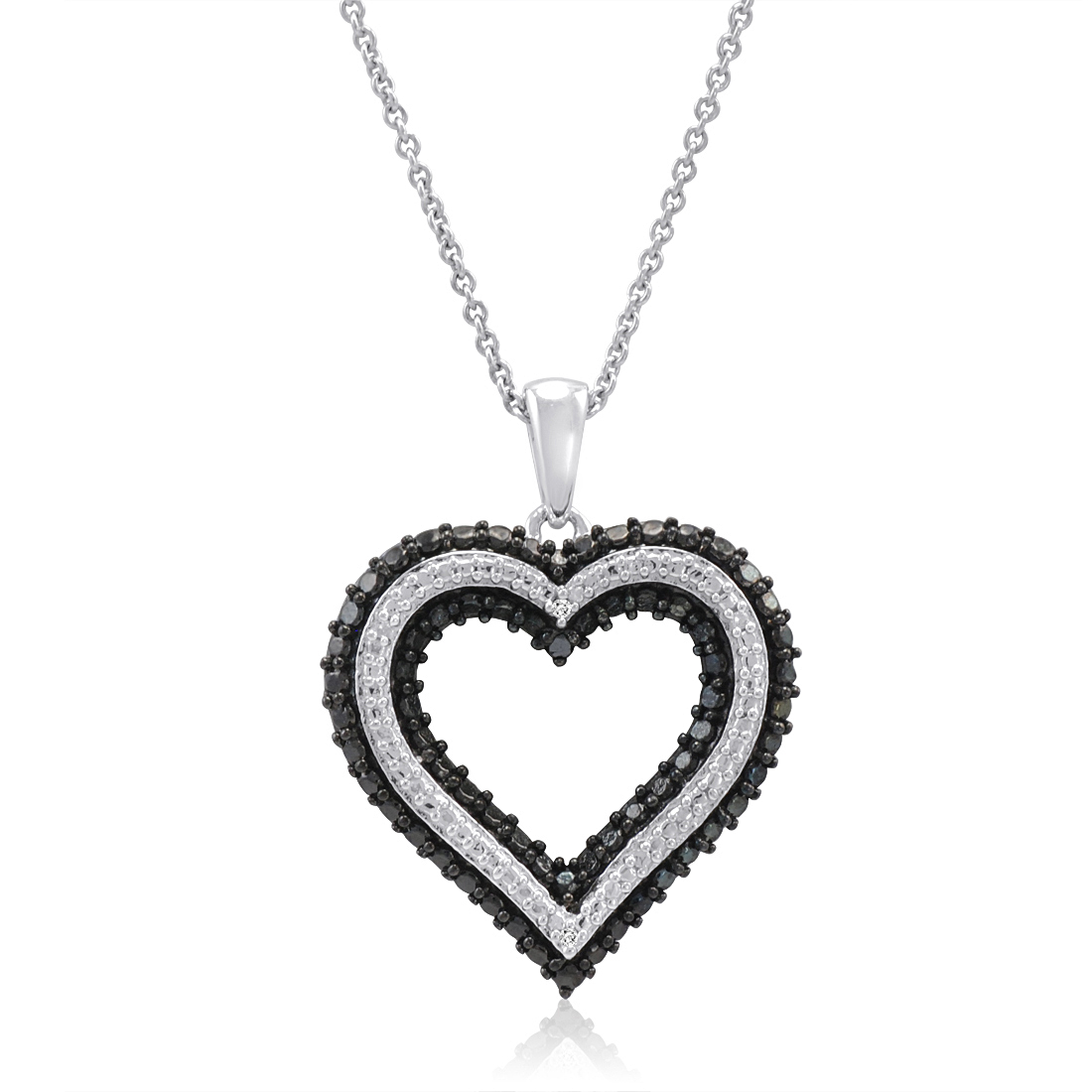 Black and White Diamond Heart Pendant Necklace in 925 Sterling Silver