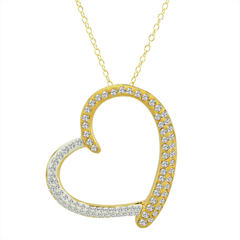Amanda Rose 14K Gold Plated Sterling Silver Heart Pendant-Necklace made with Swarovski Crystals