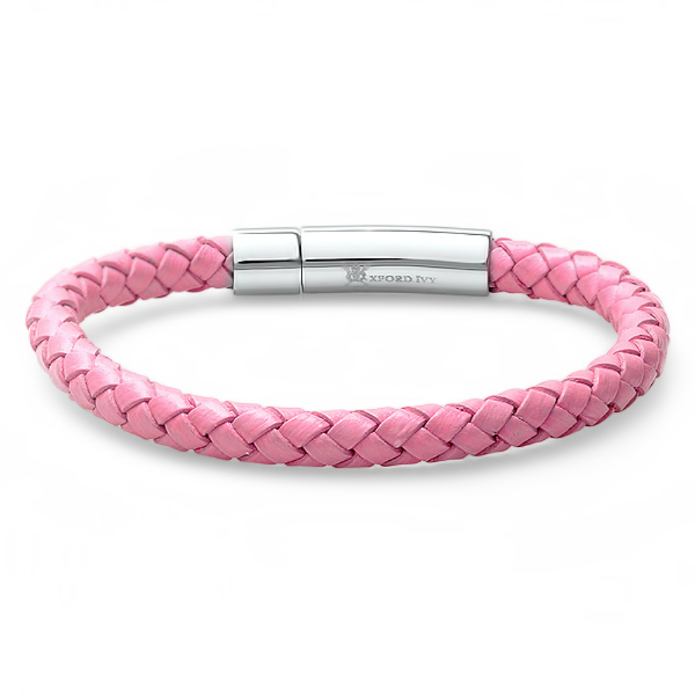 braided pink leather bracelet with stainless steel locking