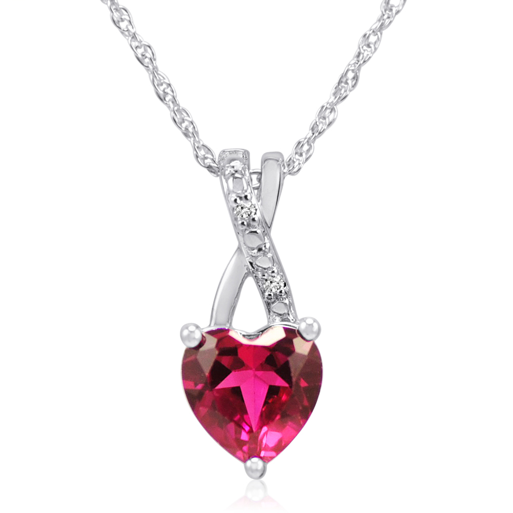 MLG Jewelry Created Ruby Heart and Diamond Pendant-Necklace in Sterling Silver (1 1/2ct tgw) at Sears.com