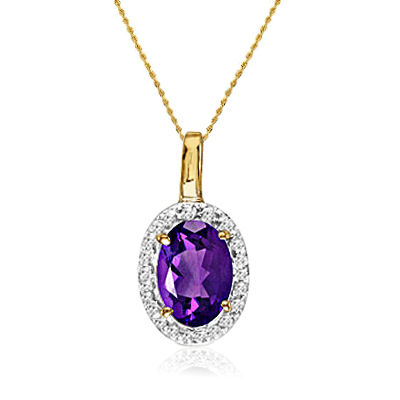 """MLG Jewelry 14K Yellow Gold Oval Amethyst and Diamond Pendant (1/2ct tw 18"""" chain) at Sears.com"""