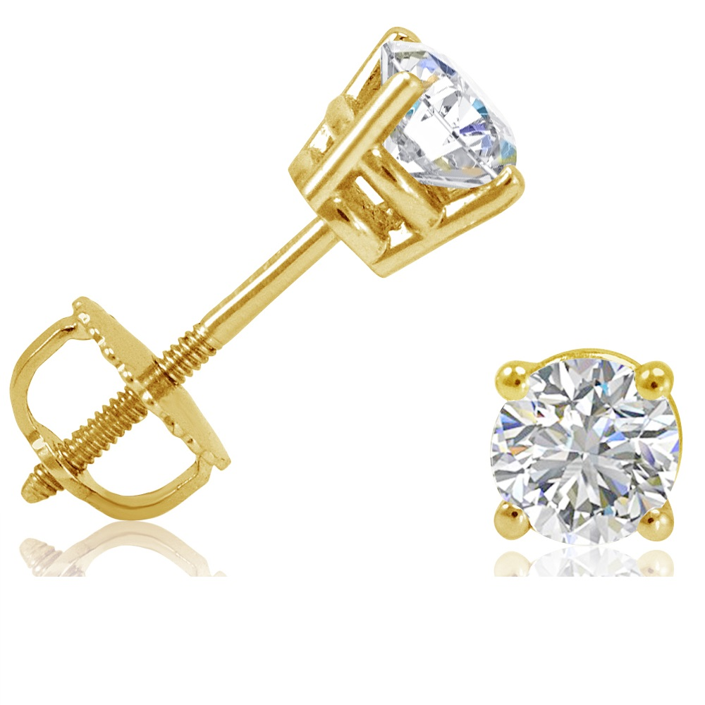 1 2ct tw round diamond stud earrings set in 14k yellow. Black Bedroom Furniture Sets. Home Design Ideas