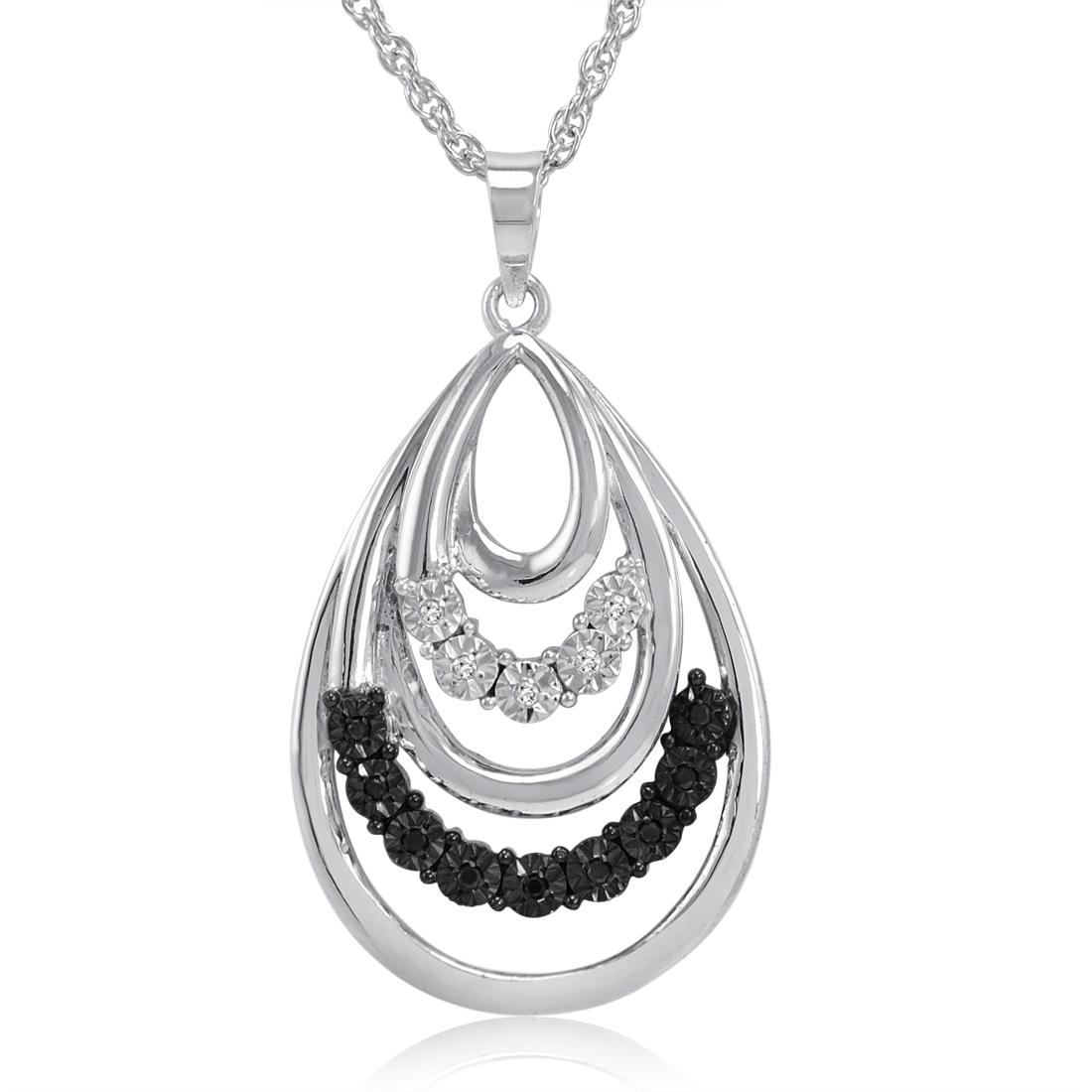 black and white tear drop pendant necklace in sterling. Black Bedroom Furniture Sets. Home Design Ideas