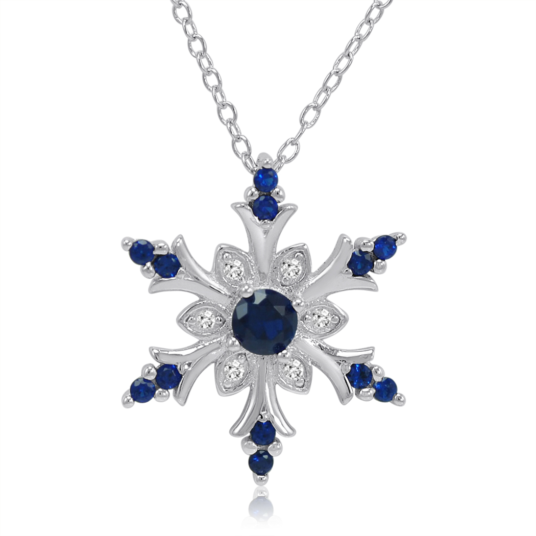 MLG Jewelry Blue and White Sapphire Snowflake Necklace in Sterling Silver at Sears.com