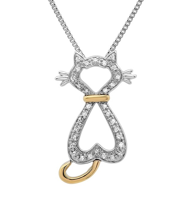 MLG Jewelry Sterling Silver and 10K Yellow Gold Diamond Cat Pendant-Necklace ( 1/10ct tw) at Sears.com