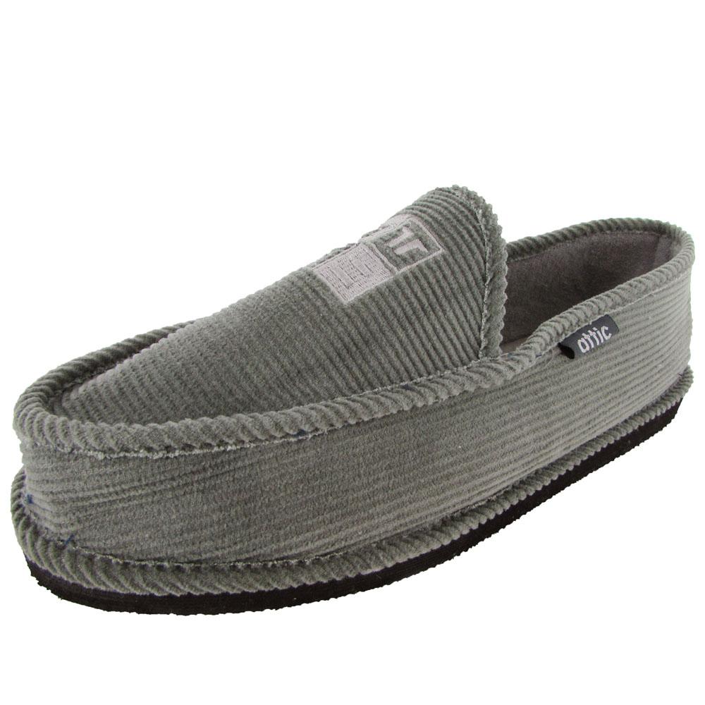 Attic Mens Slipper Fabric Slip-On Moccasin Style Slipper