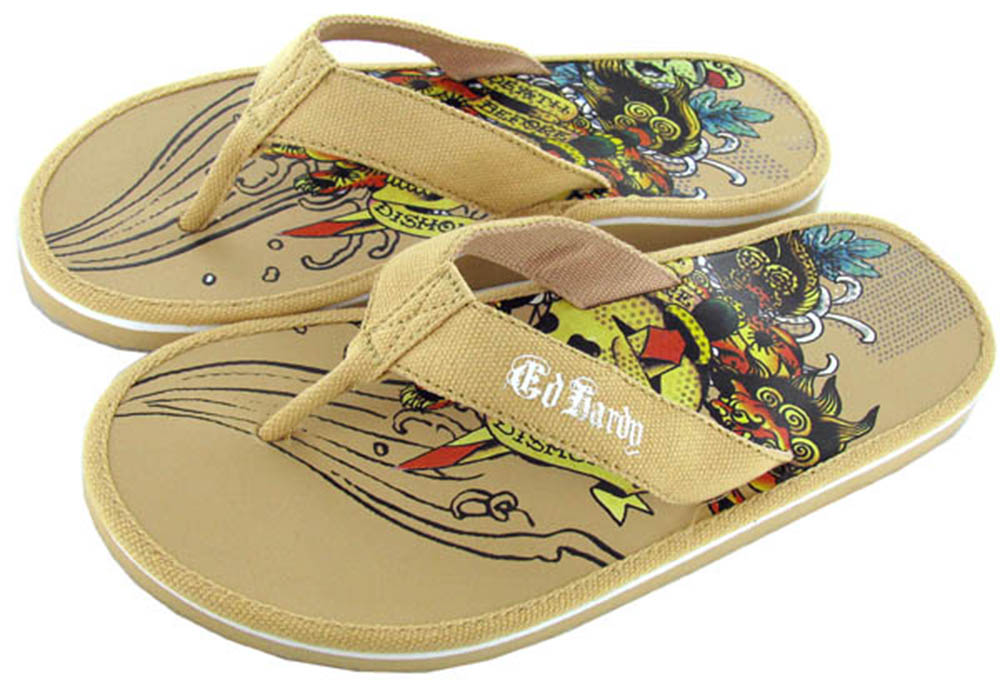 Ed-Hardy-Men-039-s-Miami-Thong-Sandals-Flip-Flops