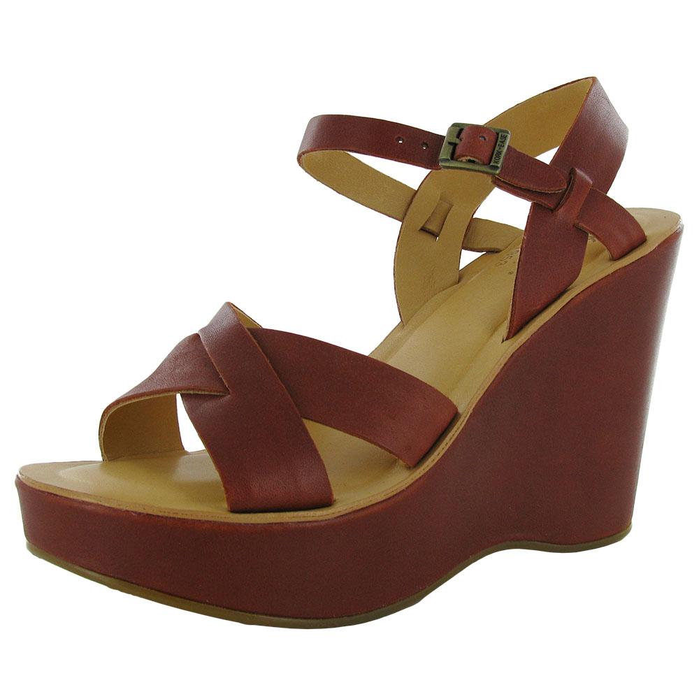 Kork-Ease Womens Bette Platform Wedge Buckle Strap Sandal Shoe