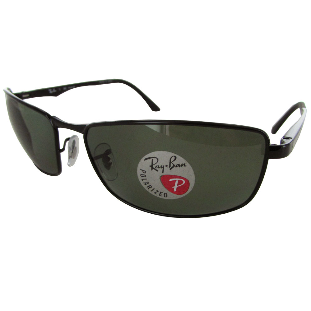 Ray Ban Mens RB3498 Polarized Rectangular Metal Sunglasses