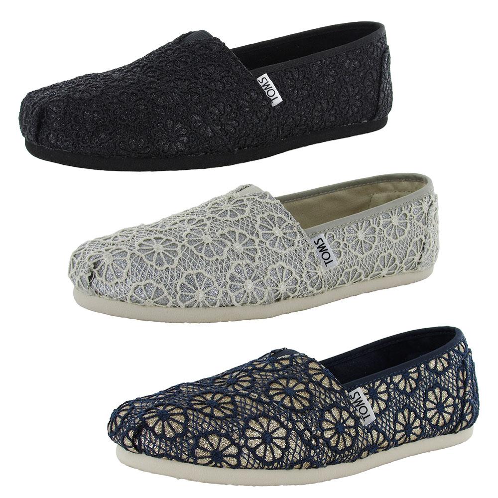 Toms Womens Crochet Glitter Slip On Alpargata Flat Shoe