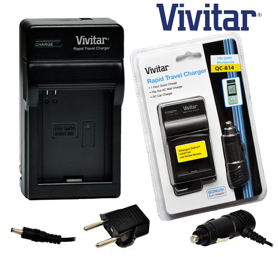 Vivitar Travel Quick Charger Ac Dc For Gopro Ahdbt 001