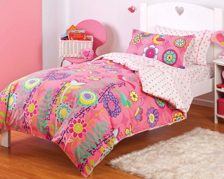 new girls pink butterfly bird floral twin or full bedding comforter sheet set ebay. Black Bedroom Furniture Sets. Home Design Ideas