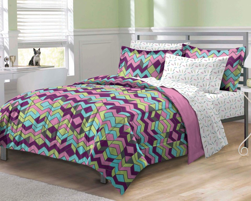 NEW Albuquerque Zigzag Purple Teen Girls Bedding Comforter Sheet Set Twin/TwinXL