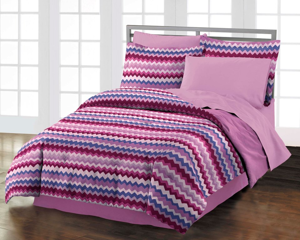 NEW Blackberry Chevron Teen Girls Purple Cotton Comforter Bedding Set - Full