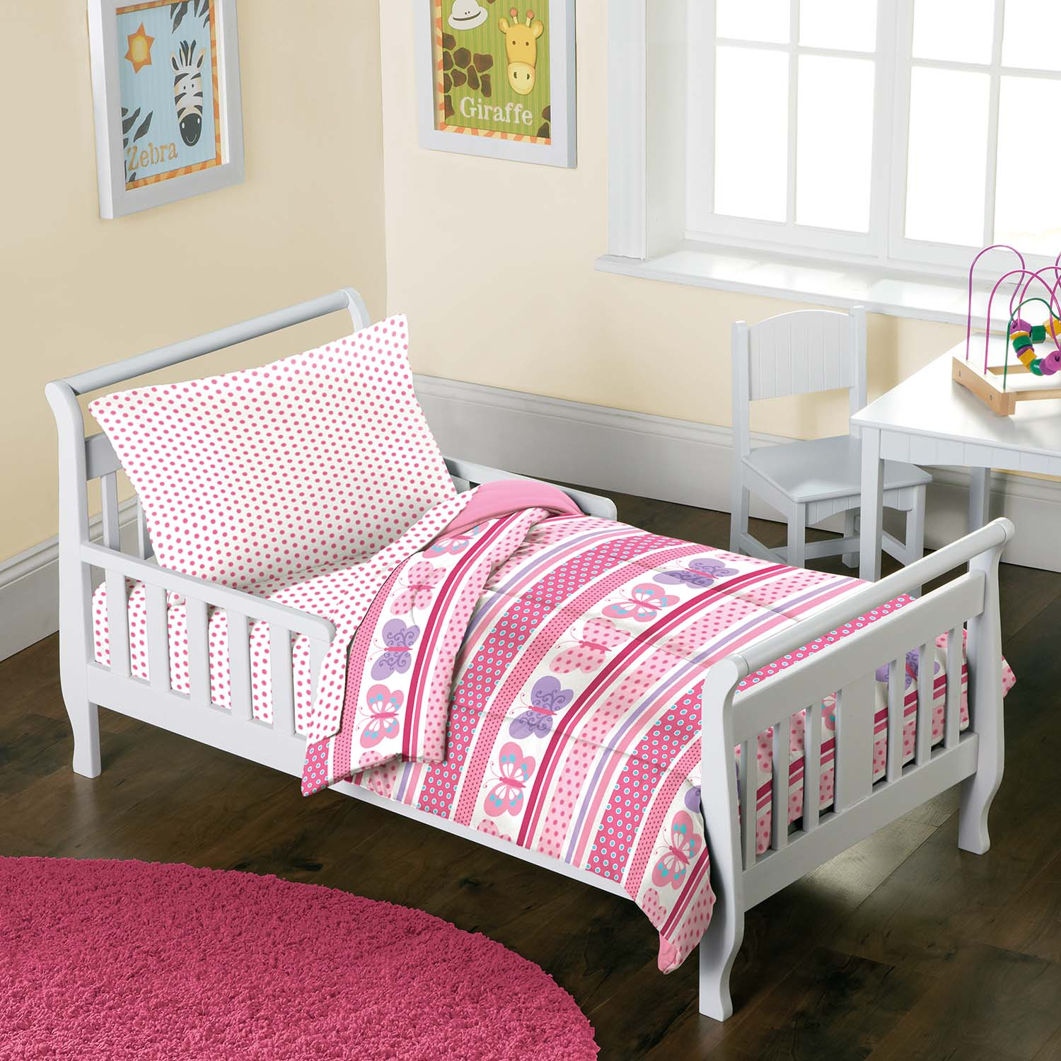 Details about NEW Butterfly Dots Pink Girls 4-Piece Toddler Bedding ...