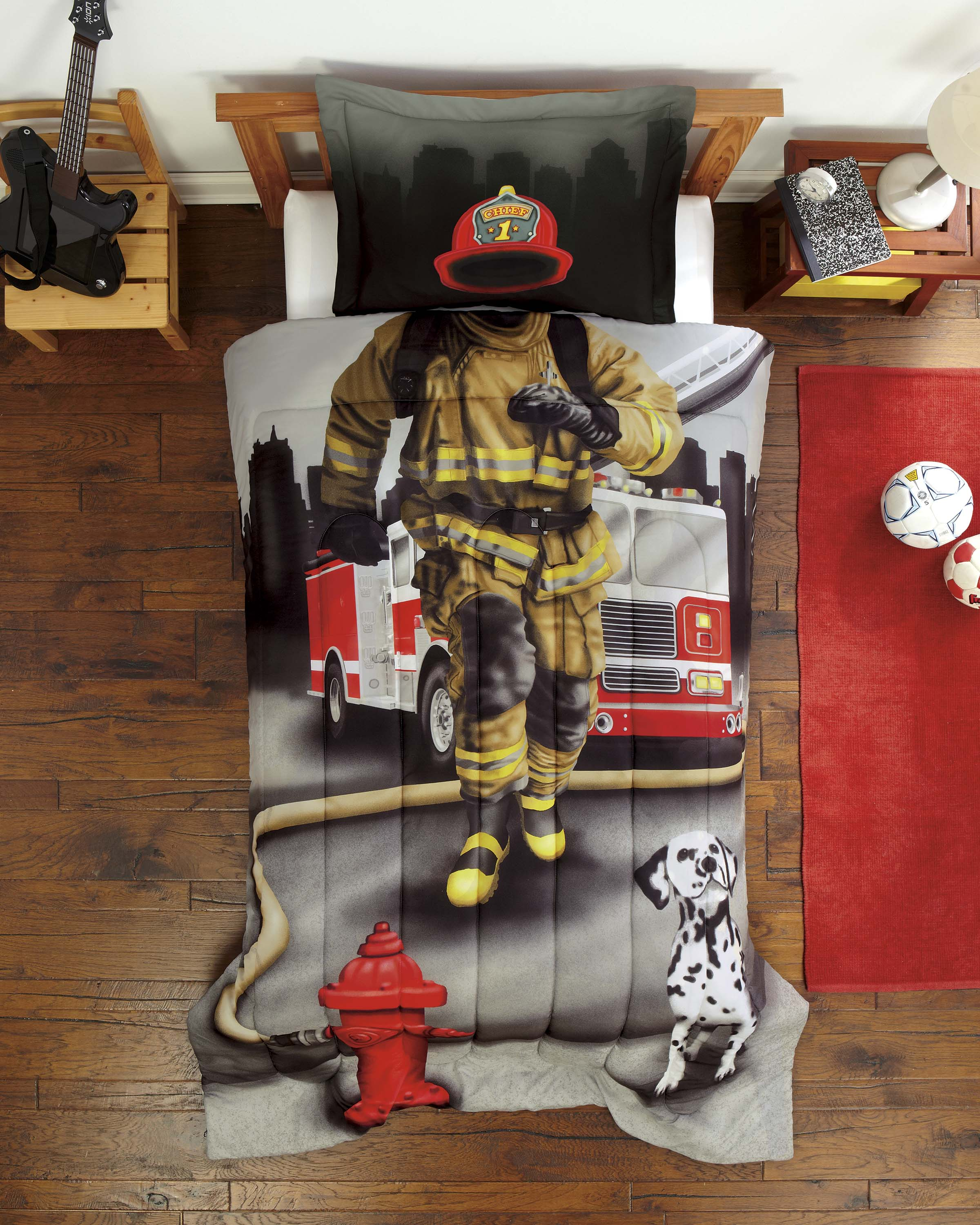 New Firefighter Boys Photo Realistic 2 Pc Comforter Sham Set Twin Ebay