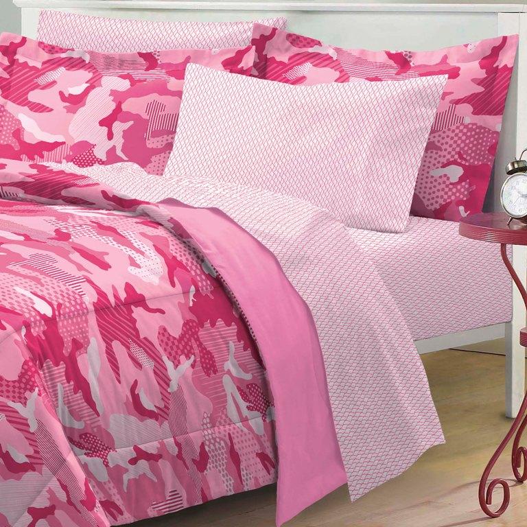 new geo camo pink camouflage girl bedding kid comforter sheet set