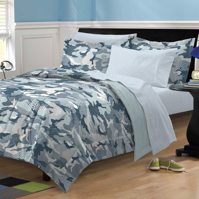 ... Steel Blue Gray Camouflage Bedding Kid Comforter Sheet Set Twin | eBay