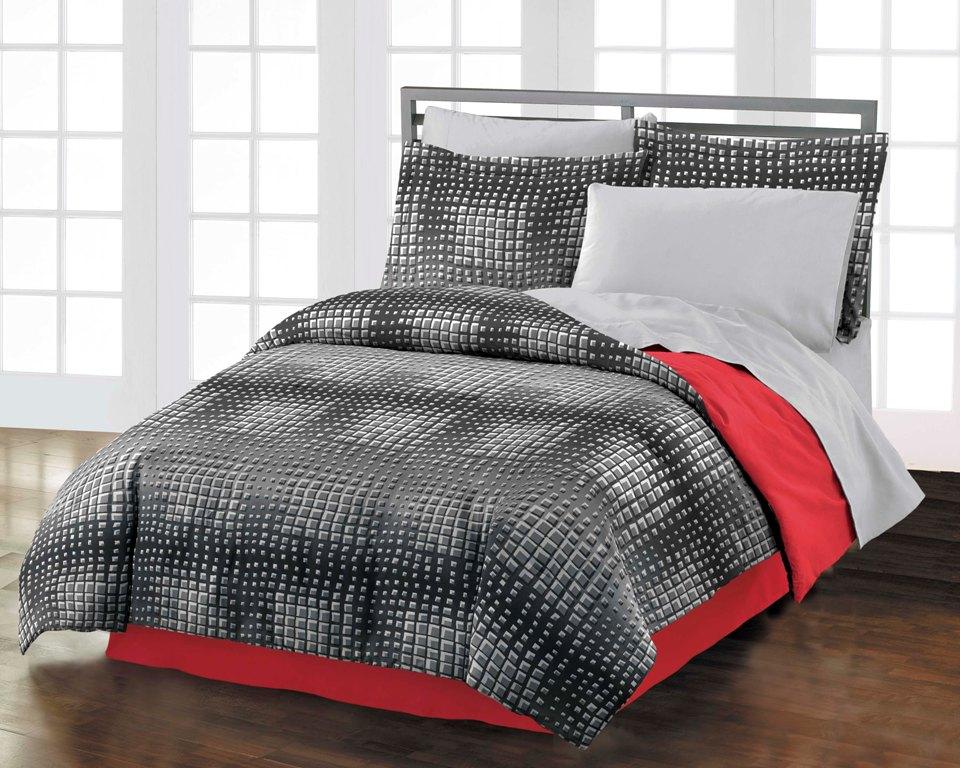 New illusion teen boys black red orange cotton comforter - Red and orange comforter sets ...