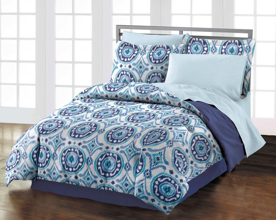 new istanbul teen room blue white cotton comforter bedding set queen ebay. Black Bedroom Furniture Sets. Home Design Ideas