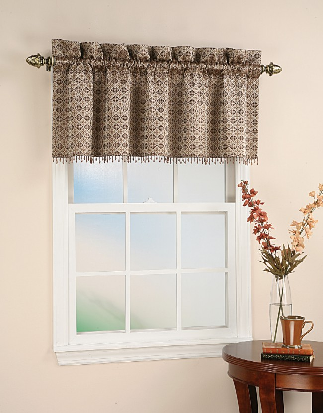Details about Moroccan Tile Motif Beaded Curtain Valance - Chocolate