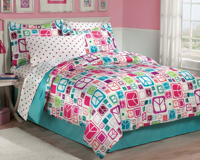NEW Teen Girls Peace Signs Teal TWIN Or FULL Bedding Comforter Sheet Set