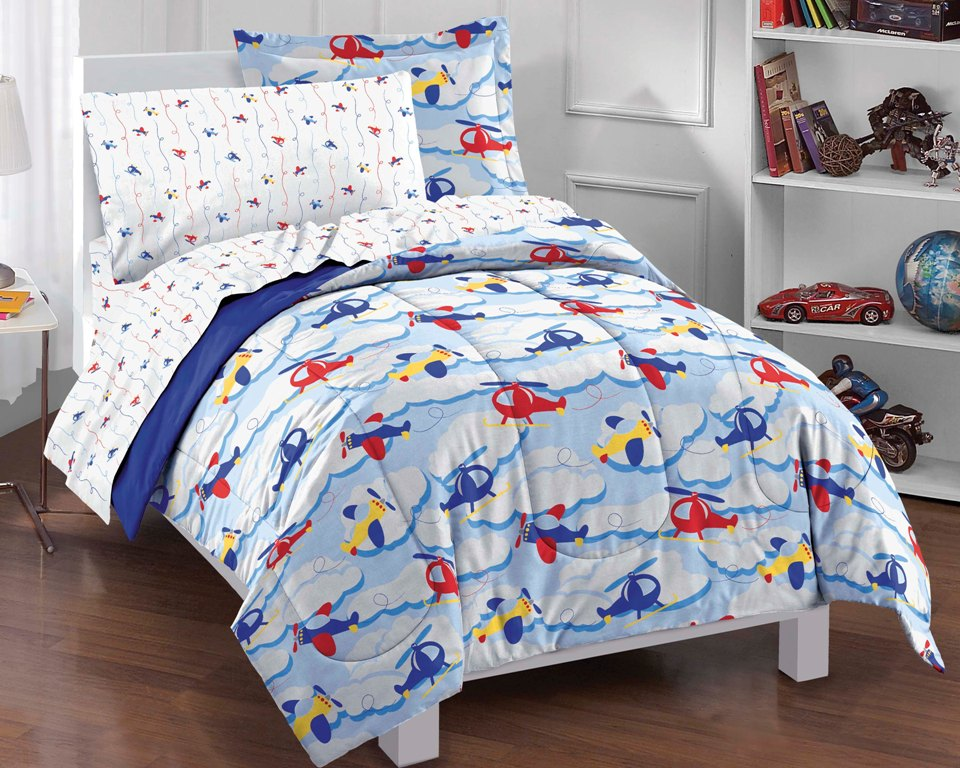 NEW Planes And Clouds Blue Boys Bedding Comforter Sheet Set Twin