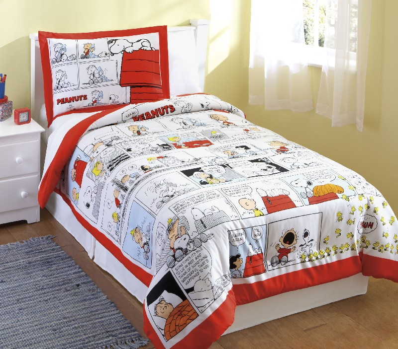 boys peanuts snoopy comics red comforter sham set twin ebay. Black Bedroom Furniture Sets. Home Design Ideas