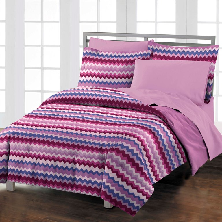 new blackberry chevron teen dorm room purple comforter bedding set twin twinxl ebay. Black Bedroom Furniture Sets. Home Design Ideas