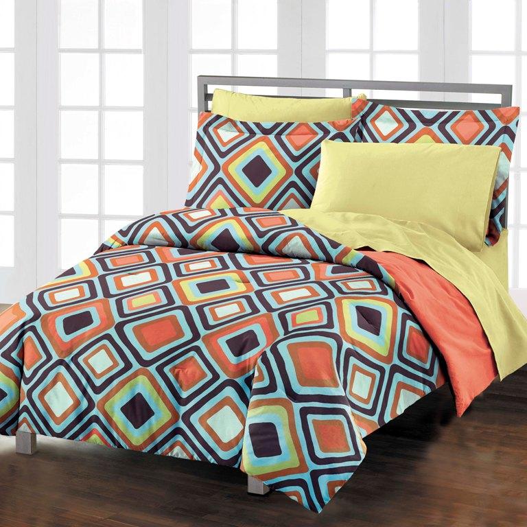 new diamonds brown coral teen adult cotton comforter bedding set twin twin xl ebay. Black Bedroom Furniture Sets. Home Design Ideas