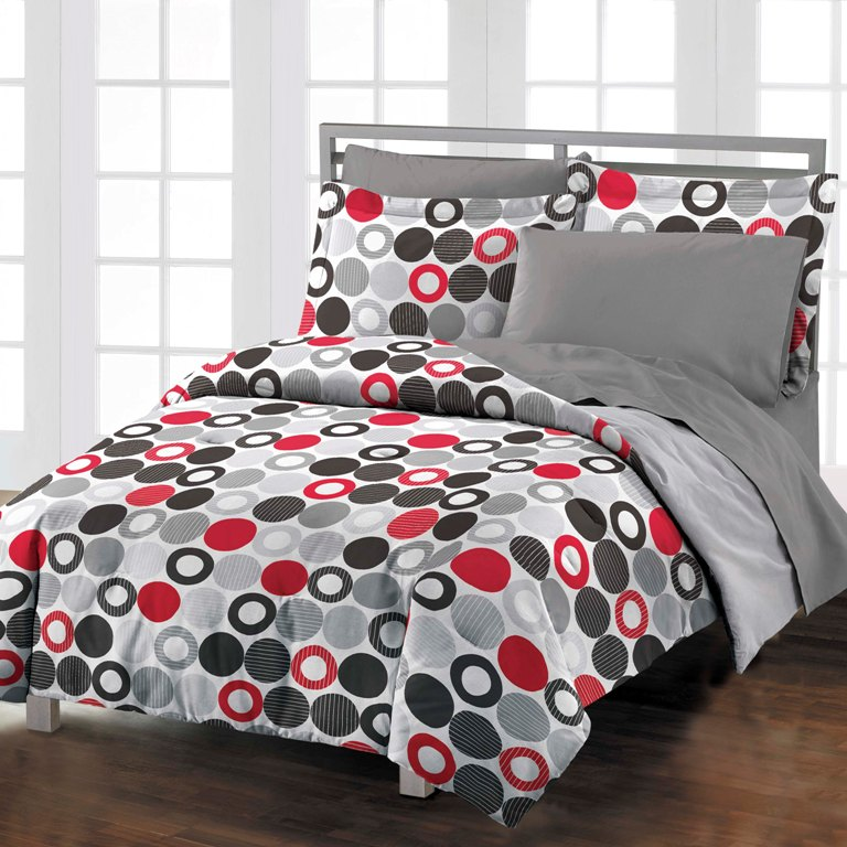 Red circles boys teen adult cotton comforter bedding set twin twin xl