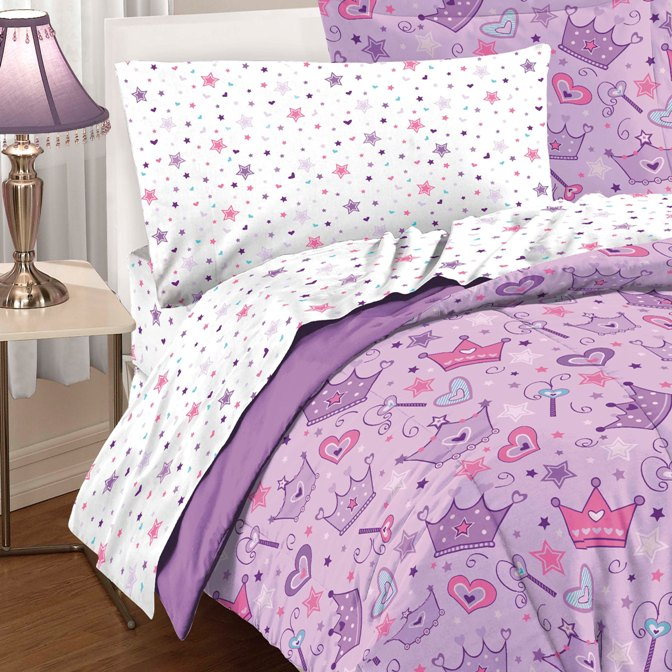 Details about NEW Girls Purple Pink Princess Star Heart TWIN or FULL ...
