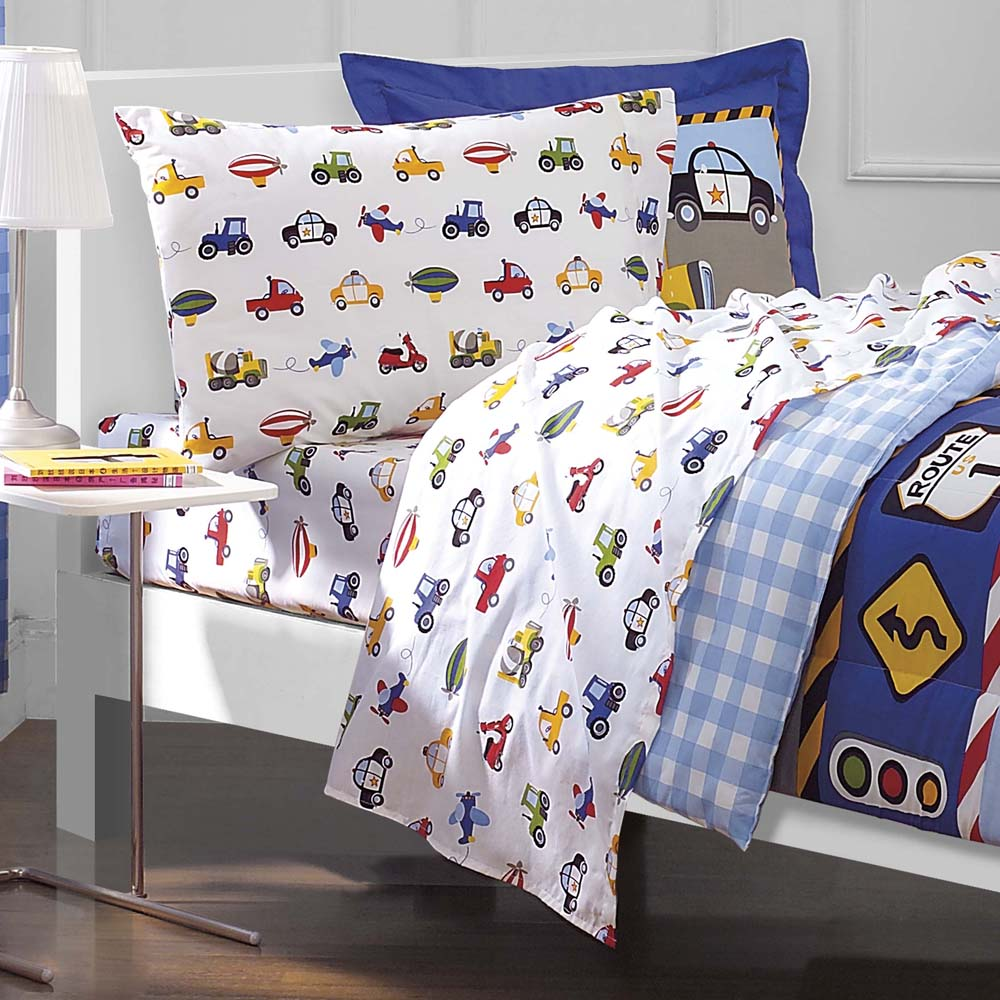 Tractors Cars Boys Blue Red Twin Bedding Comforter Sheet Set