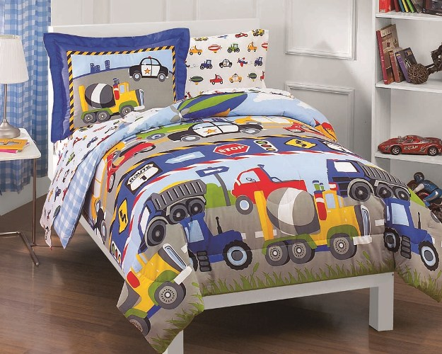 new trucks tractors cars boys blue red twin bedding