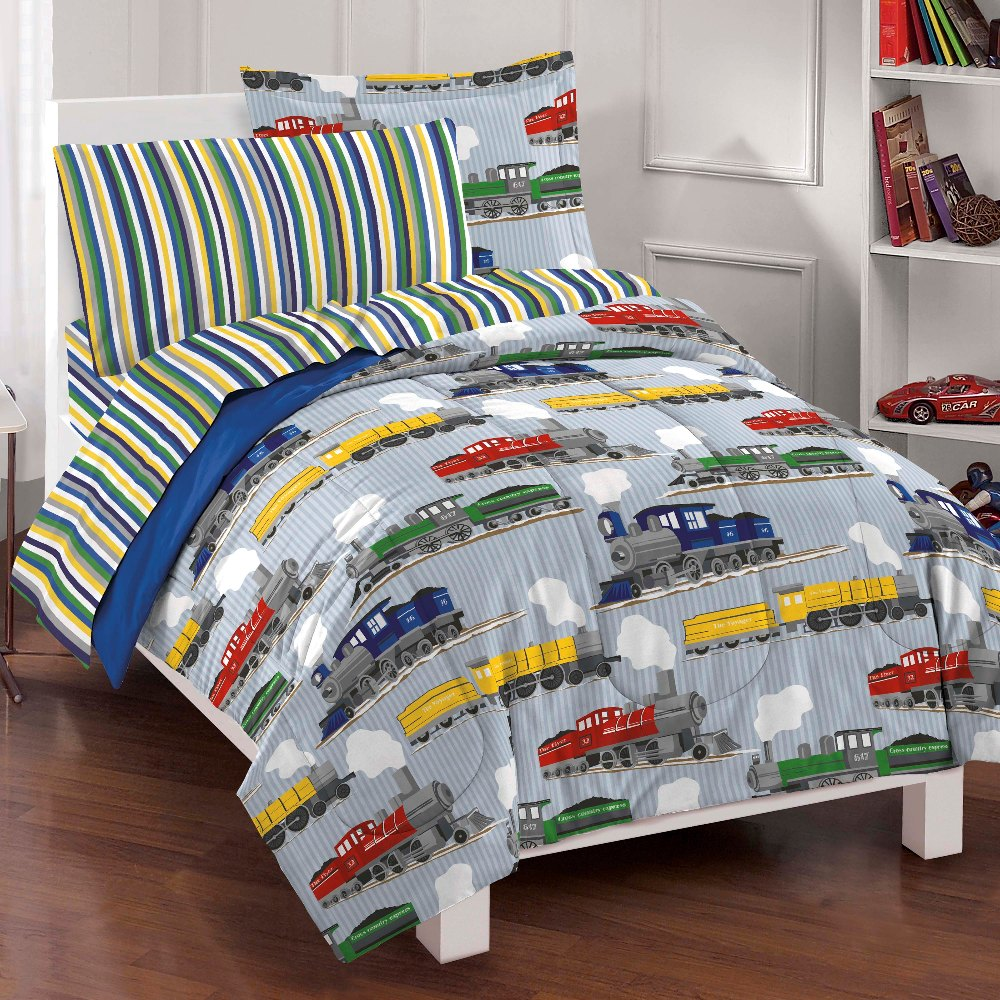 New trains boys bedding comforter sheet set full ebay for Toddler train bedroom
