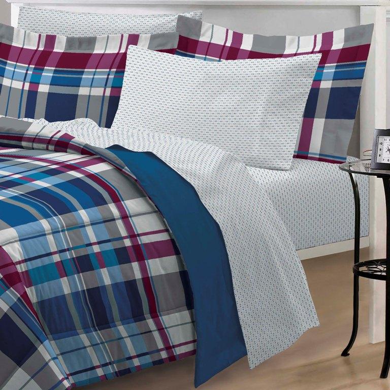 new varsity plaid teen boys bedding comforter sheet set twin twin xl. Black Bedroom Furniture Sets. Home Design Ideas