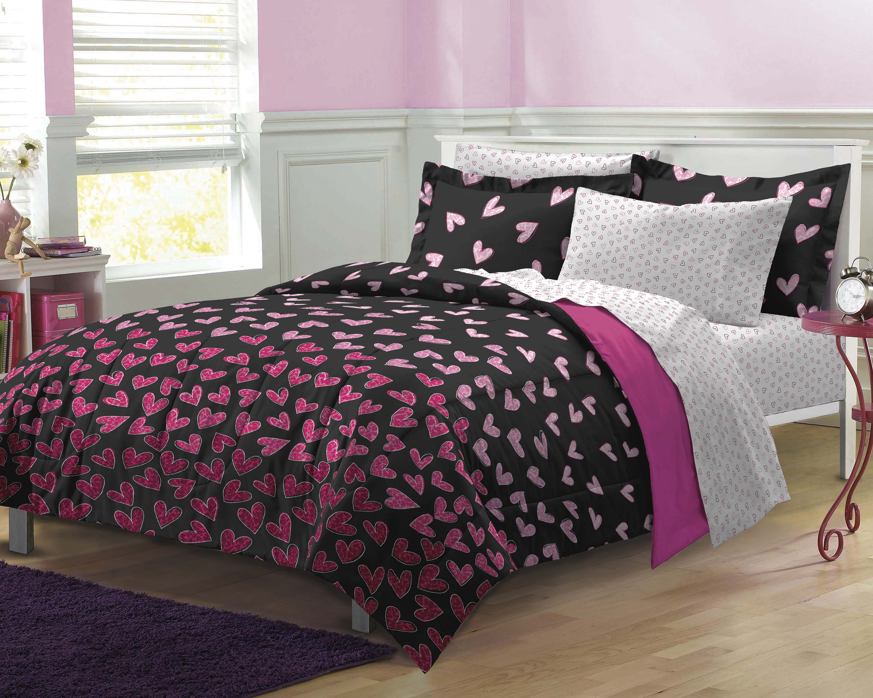 NEW Hot Pink Wild Hearts Teen Bedding Comforter Sheet Set Twin, Twin XL